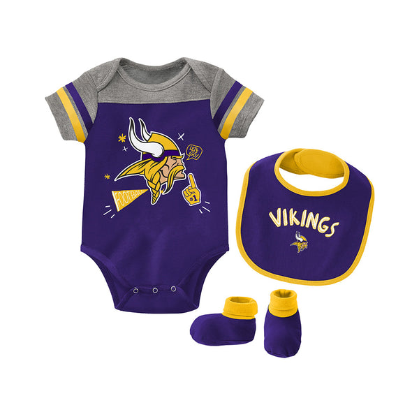 Outerstuff Newborn & Infant Vikings Tackle Bodysuit, Bib & Booties Set