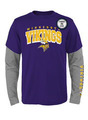 Outerstuff Vikings 3-In-1 Long Sleeve/Short Sleeve T-Shirt Combo Pack