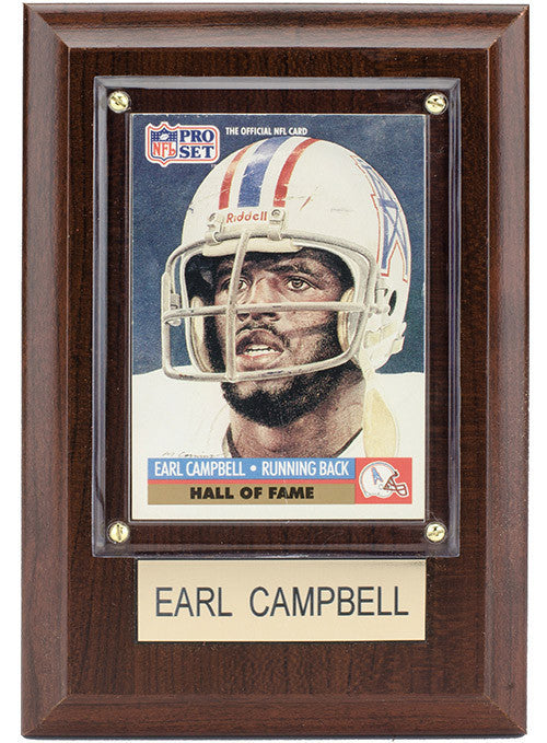 Oilers Earl Campbell 4x6 Plaque
