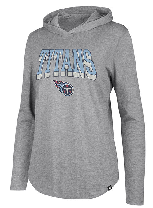 Ladies '47 Brand Titans Intro Piper Hooded Flocked Distressed Top