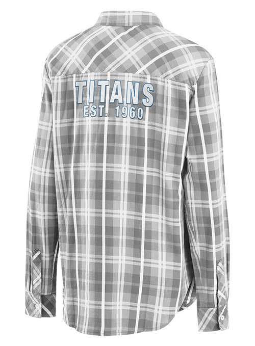 Ladies WEAR By Erin Andrews Tennessee Titans Button-Up Plaid Shirt