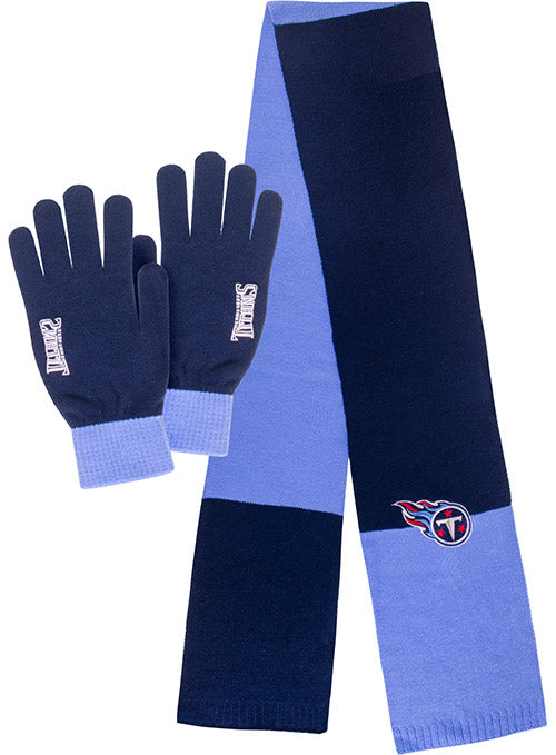 Titans Scarf and Glove Knit Set