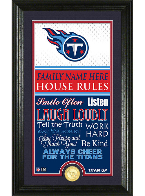 "Titans 12"" x 20"" Personalized House Rules Photo Mint"