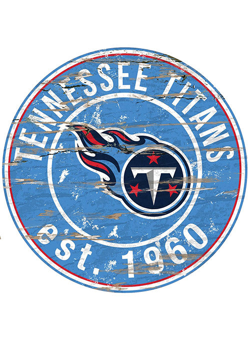 "Titans 24"" x 24"" Round Distressed Sign"