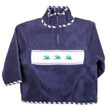 Emily Lacey Smocked Fleece Navy Jacket with Whales and Gingham Trim