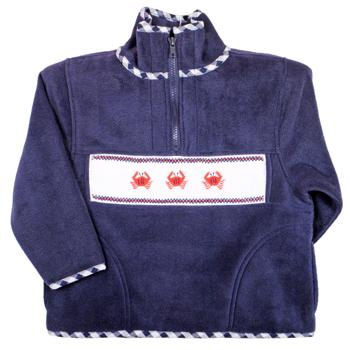Emily Lacey Smocked Fleece Navy Preppy Nautical Jacket with Crabs and Gingham Trim