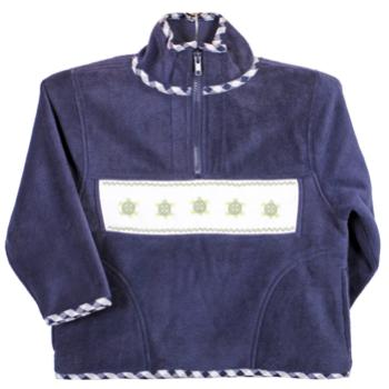 Emily Lacey Smocked Fleece Navy Jacket with Turtles and Gingham Trim