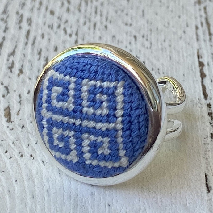 Cornflower Blue Greek Key Needlepoint Ring