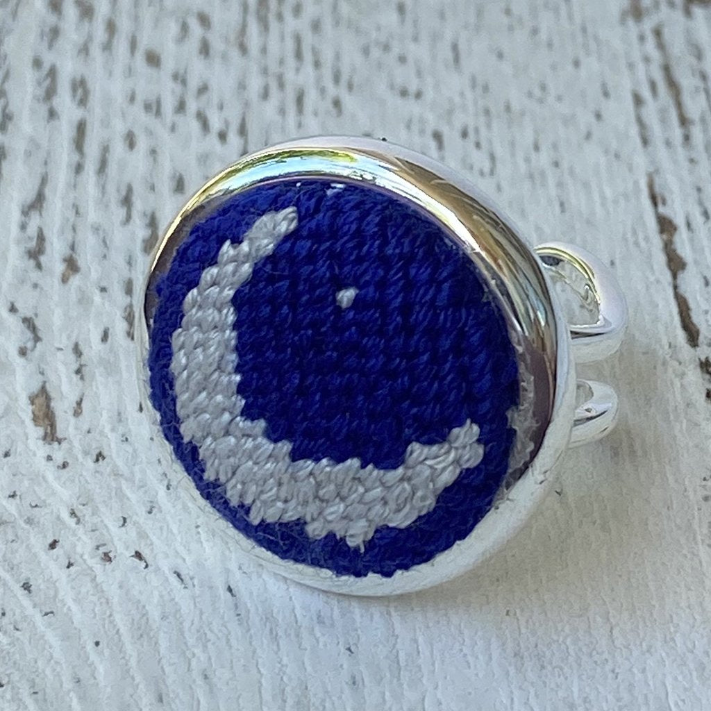 Moon and Stars Needlepoint Ring