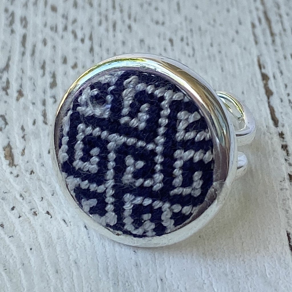 Navy and Grey Greek Key Needlepoint Ring