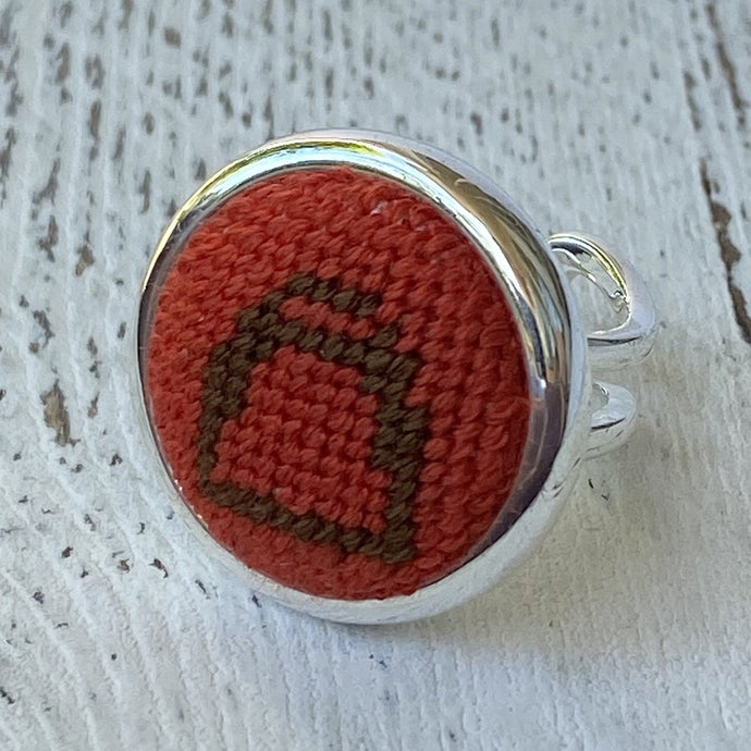 Orange and Brown Stirrup Needlepoint Silver Ring