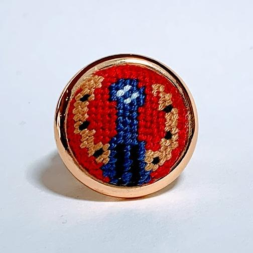 Blue Ribbon Needlepoint Ring