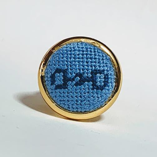 Sky & Navy Snaffle Bit Needlepoint Ring