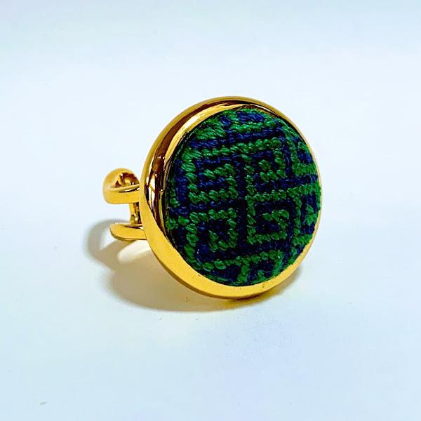 Navy & Kelly Greek Key Needlepoint Ring