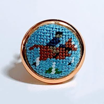 Chestnut Hunter Needlepoint Ring