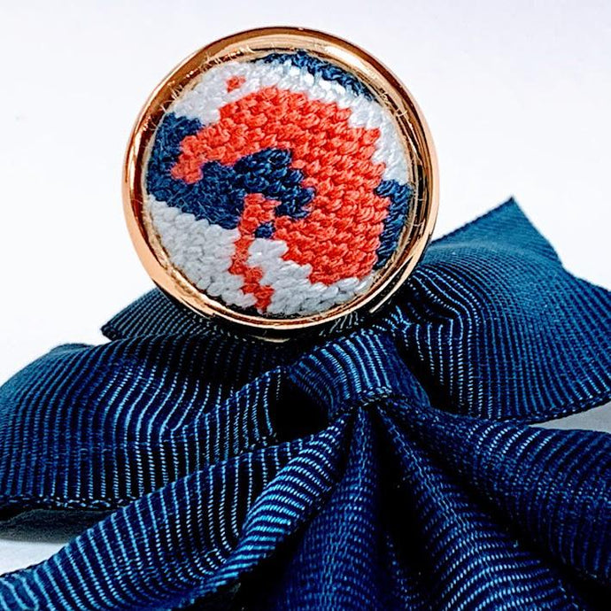 Coral & Navy Jumper Needlepoint Ring