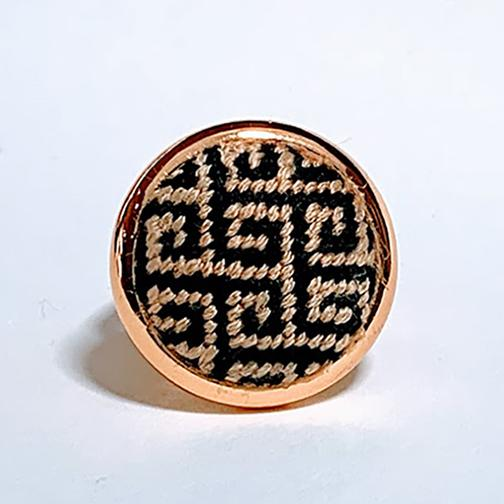 Black and Gold Needlepoint Greek Key Ring