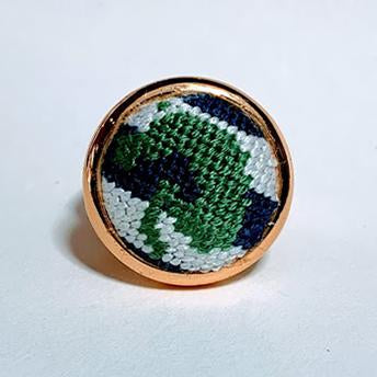 Green & Navy Jumper Needlepoint Ring
