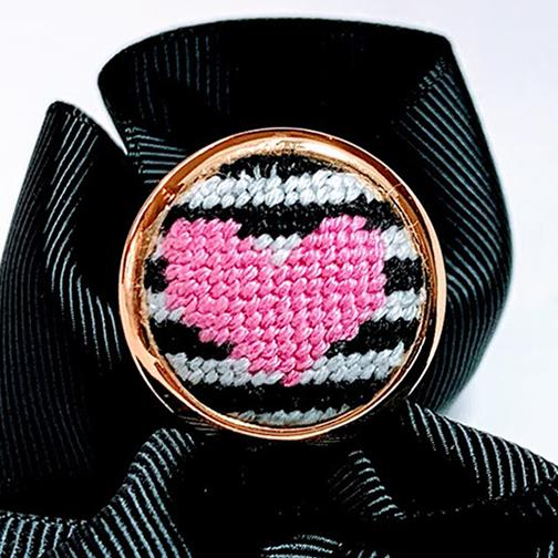 Pink Heart Needlepoint Ring