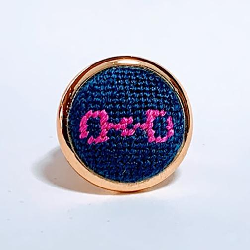 Navy & Pink Snaffle Bit Needlepoint Ring