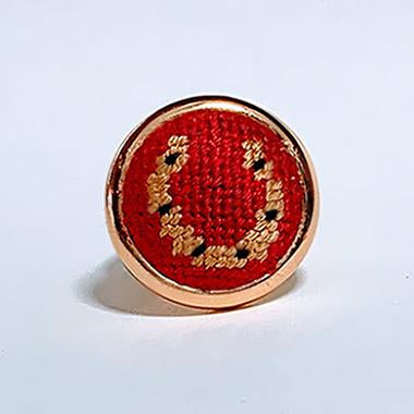 Red Horseshoe Needlepoint Ring