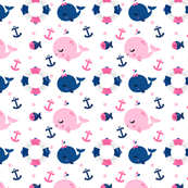 Emily Lacey Pink Seersucker Nautical Whale Aline Girls Dress