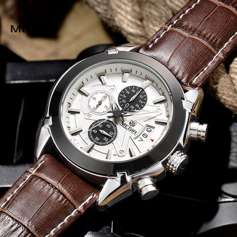 Megir Leather Sports Watch