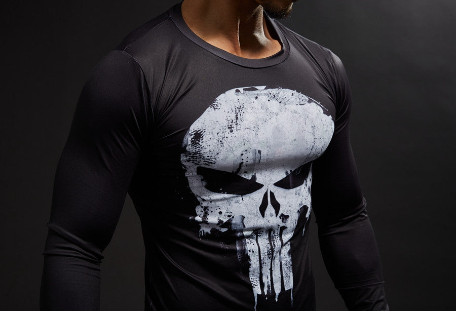 Punisher Compression Shirt Cool Dry Long Sleeves