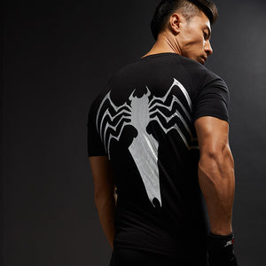 Platinum Black Spiderman Compression Shirt Cool Dry Short Sleeves