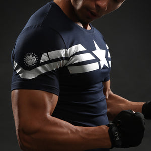 Captain America Compression Shirt Cool Dry Short Sleeves