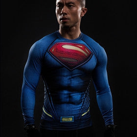 Superman Compression Shirt Cool Dry Long Sleeves