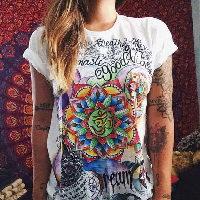 Om Flower Retro Women Shirt