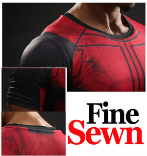 Deadpool Compression Shirt Cool Dry Short Sleeves