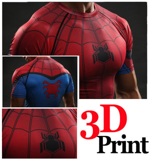SpiderMan Compression Shirt Cool Dry Short Sleeves