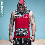 Men's Semi Camouflage Tank Tops Hoodie Fitness