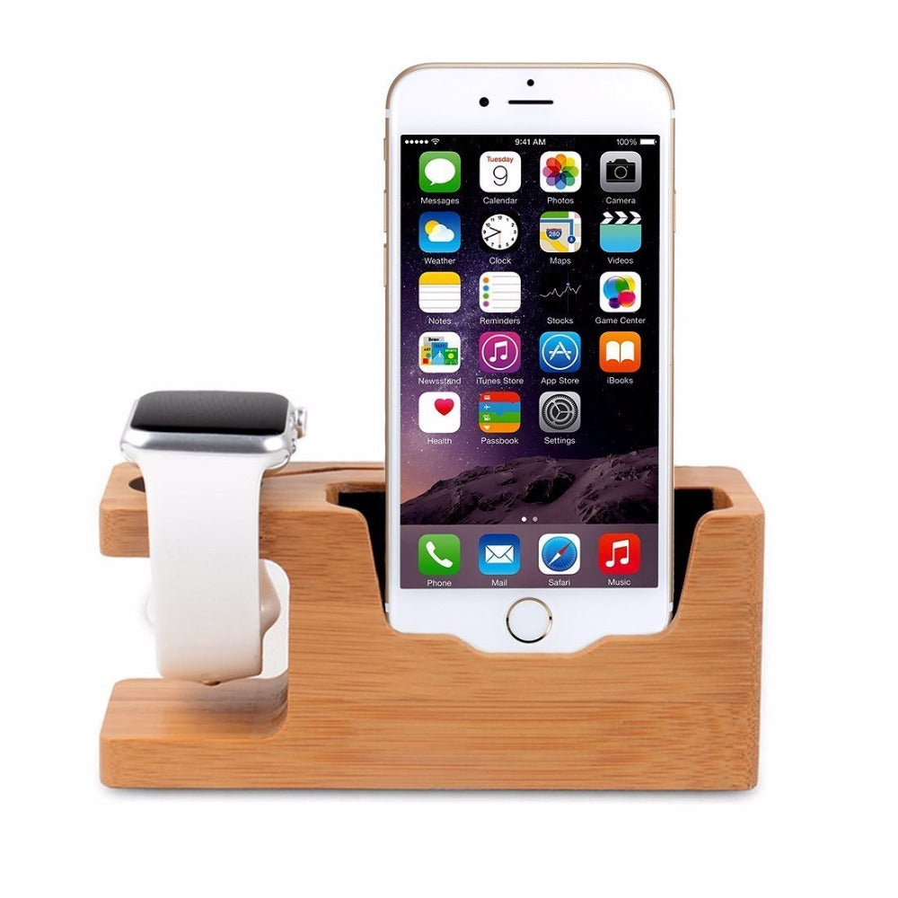 Premium Bamboo Iphone & Apple watch Dock Station 2nd Generation