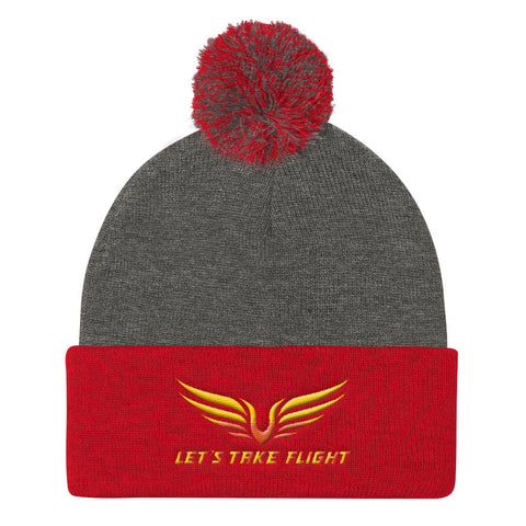 Lets Take Flight Pom Pom Knit Cap