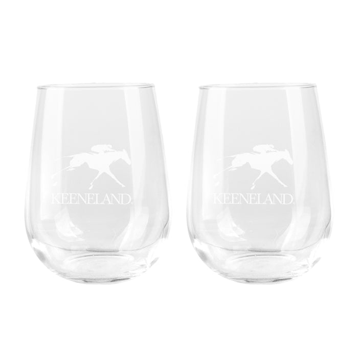 Keeneland Logo Stemless Wine Glass Set