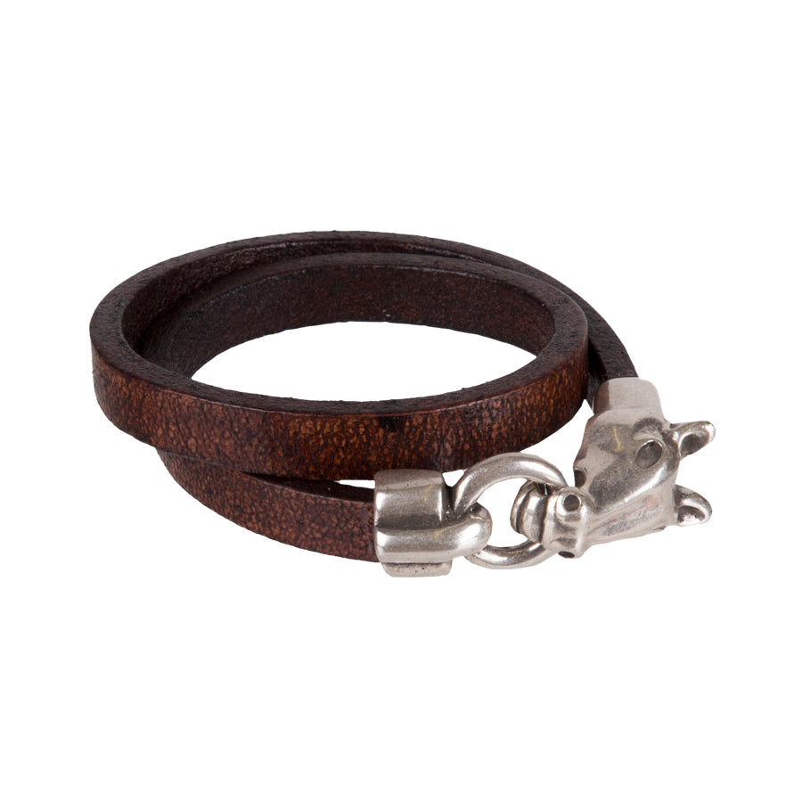 Lela Ray Antique Silver Horsehead Leather Wrap Bracelet
