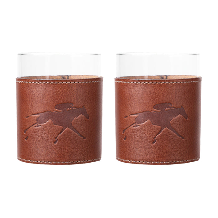 Clayton & Crume Keeneland Leather Wrapped Rocks Glass Set
