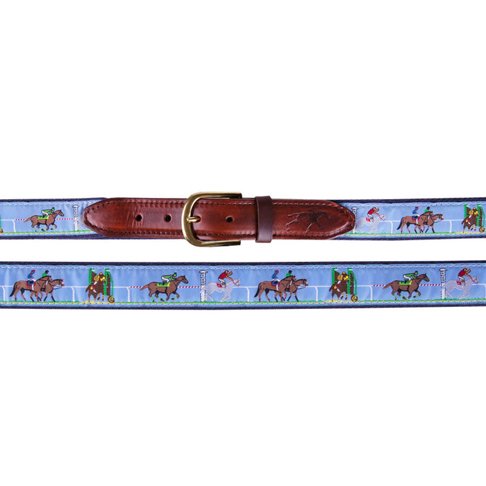 Men's Horse Race Scene Ribbon Belt