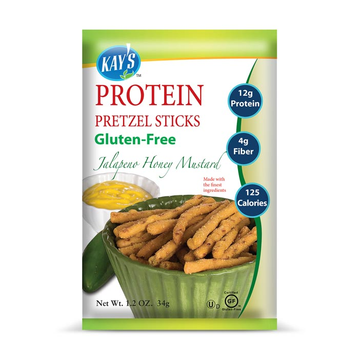 Kay's Naturals Gluten-Free Protein Pretzel Sticks Jalapeno Honey Mustard | Bulu Box - sample superior vitamins and supplements
