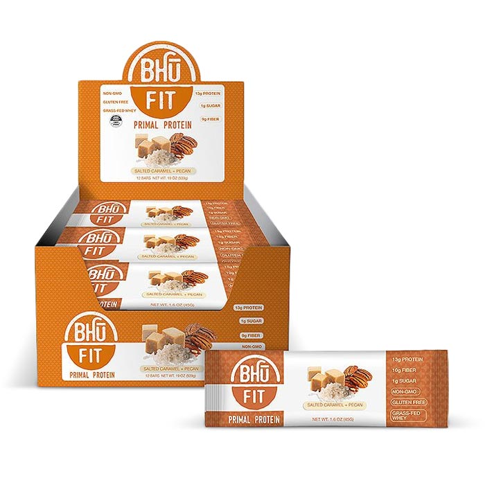 Bhu Fit Primal Protein Bars Salted Caramel Pecan | Bulu Box - sample superior vitamins and supplements