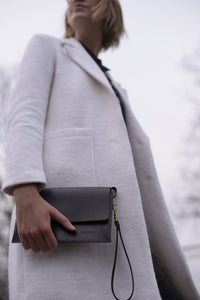 Black jollof leather clutch - winter image