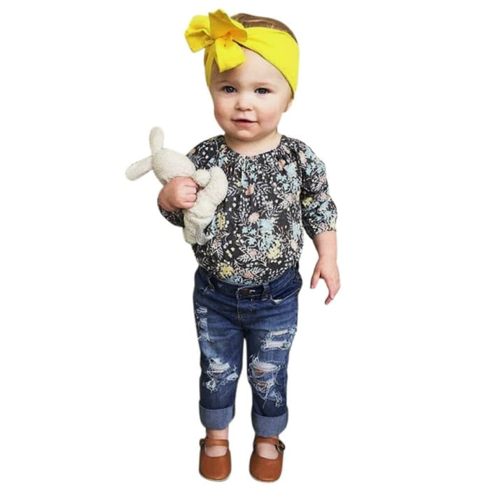 2Pcs Girls Floral Tops+Denim Pants - Girls