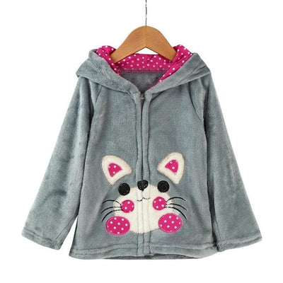 Animal Hooded Coat - Grey / 2Y - Girls