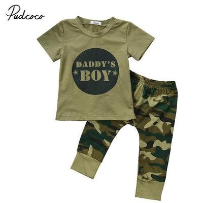 Army Green Boy T-Shirt Tops Long Pants - Boy / 3M - Baby Boys