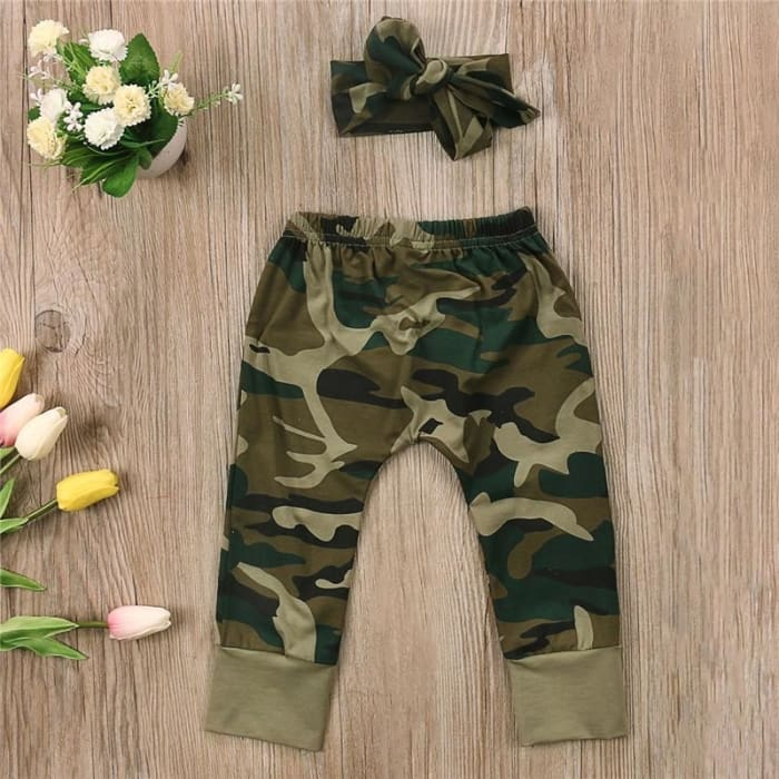 Army Green Girl T-Shirt Tops Long Pants - Baby Girls