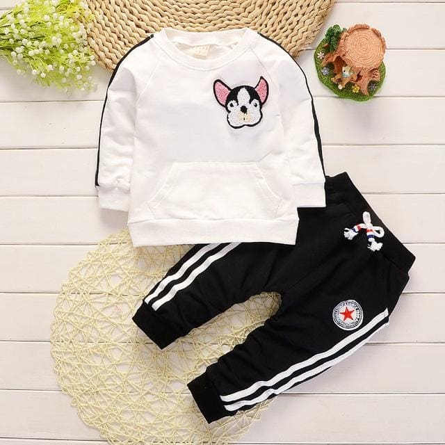 Autumn Boys Girls Fashion Embroidery Cartoon Dog Set - Girls