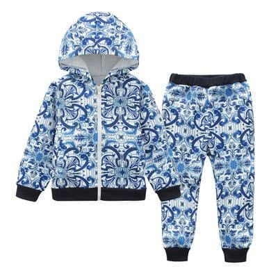 Autumn Long Sleeve Sports Clothes - Blue / 3Y - Girls